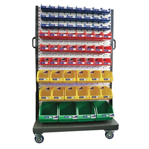 128 Bin Louvre Panel Trolley | Mobile 1600 Series Hanger Rack with Bins